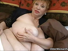 Oversized granny with upper case tits
