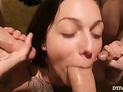 TATTOOED CUMDUMPSTER TAKES ON 3 DICKS AT ONCE, GETS CREAMPIED With an increment of A FACIAL! - Featuring: Harlow Harrison
