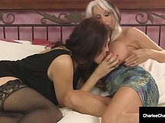 Big Titty Milfs Charlee Track & Sally D'Angelo Suck A Dick!