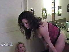 Skinny babe pisses unaffected by two busty BBW lesbians