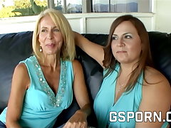 Homemade mature lesbian milfs with queasy pussy have wet sex