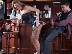 Big titty bar slut fucks a customer