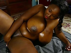 Busty black BBW beauty oils up her big tits & juicy pussy 4U