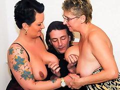 AmateurEuro Hot German BBW Angelika J. Shares Cock In 3way