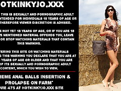 Hotkinkyjo ground-breaking anal balls insertion & prolapse on farm