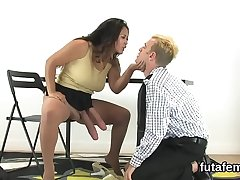 Nymphos penetrate boyfriends ass fissure with big strapon dildos and burst jism