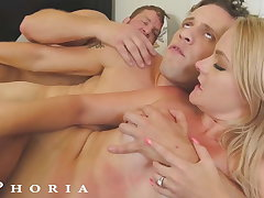BiPhoria - Incorporate Boy's Horny GF Initiates Threesome With Boss