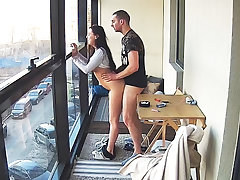 Busty Teen in Hot Smoking Action on the Balcony