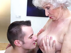 Grannys hairy pussy gets a warm claim b pick up from boy