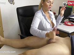 MyDirtyHobby - Smoking secretary gives their way boss a handjob