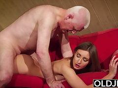 Girl gives grandpa hard erection, gear up fucks him