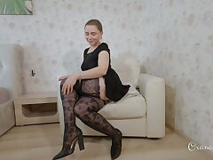 Upskirt fetish. stockings, heels and buttplug 2. The easy chair
