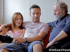 Old Goes Young - Sveta and her man are casually laying there their living room