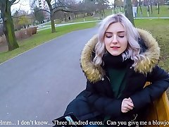 Cute teen swallows hot cum be fitting of cash - extremist public blowjob wide of Eva Elfie