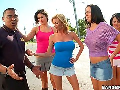 Dirty pornstar copulation at bowling alley w/ Rachel Starr, Diamond Kitty, Alexis Fawx