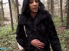 Public Agent British Ebony Asia Rae Bounces the brush Spoils unaffected by Big Cock